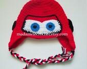 Newborn to Toddler Red Racing Car Crochet Hat