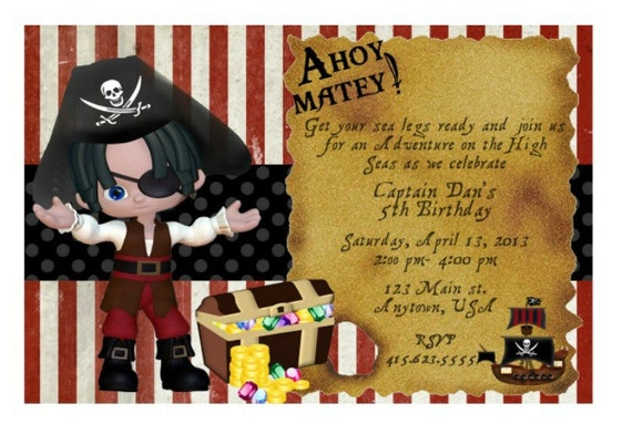DIY Printable PDF Pirate Invitation Pirate Birthday