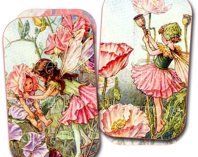Flower Fairies of the Garden Digital Collage Sheet - For your DIY tin cans, altoids, cardmaking etc.