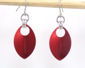Red Simple Single Scale Earrings