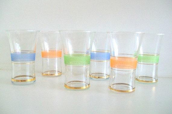 Mid Century Pastel Juice/Shot Glasses