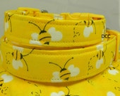 Dog Collar Bumble Bee Honey Bee Yellow Black and White Adjustable Dog Collar D Ring Choose Size Buzz Spring Pet Pets Collars Accessories