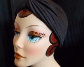 Black, Vintage Style Turban, Retro Sun Bathing Cap