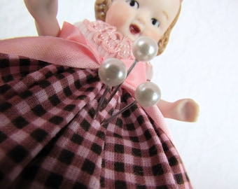 Pincushion Half Doll Porcelain Girl with Bow Moveable Arms Antique Reproduction Handmade Vintage Trim