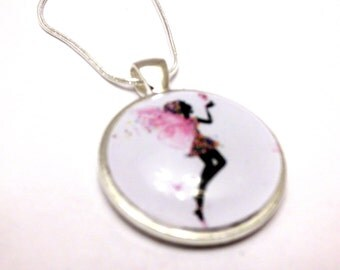 Flower Fairy Pendant- Beautiful Silouette  Glass Pendant for necklace