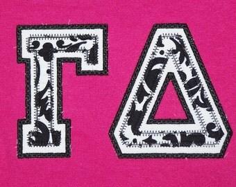 custom greek letter sorority applique shirt greek letter shirt black and white sorority shirt