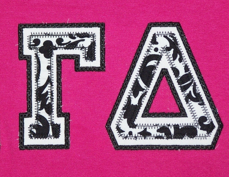 Custom Greek Letter Sorority Applique Shirt by trendyembroidery