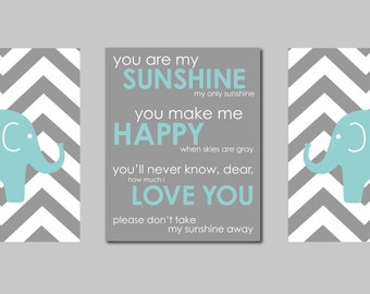 "Modern Nursery Teal and Gray Prints  - Elephant Chevron Silhouettes and You are my Sunshine- Art for Nursery - Set of three 8""x10"" prints"