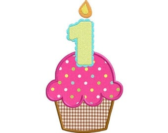 First Birthday Cupcake With Candle APPLIQUE Machine Embroidery Designs