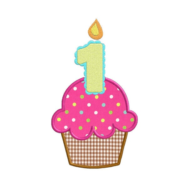 First Birthday Cupcake With Candle APPLIQUE Machine Embroidery