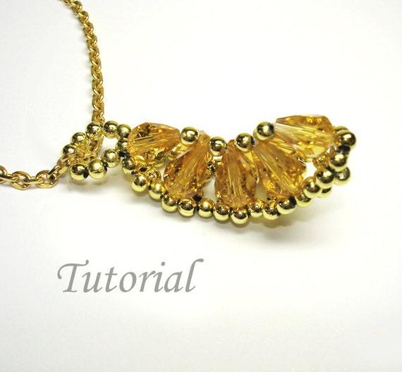 Beading Tutorial - Beaded Honey Lemon Pendant Pattern,  Fruit Pattern Pendant Tutorial Beadweaving Pendant  Making Instructions