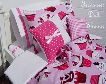 Doll Bedding 5 Pc Set for 18 Inch Dolls - Cupcakes with Hearts on Pink