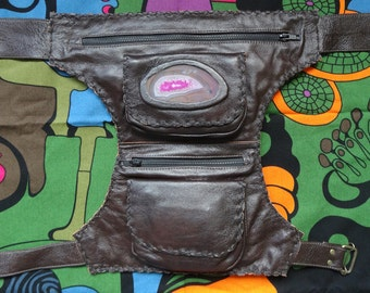 Pouch Leather Belt - hip bag - hip pack - hip belt -belt bag- festival belt
