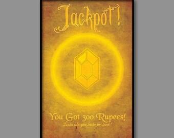 Zelda Inspired Video Game Art // Golden Rupee Reward Poster // 11x17 Vintage Art Print