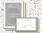 Personalized WEDDING INVITATION & RSVP Printable Digital Design - Mason Jar