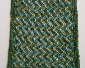 Knit Scarf Pattern:  Sandy's Light Weight Lace Scarf with optional Bead Crocheted Edging