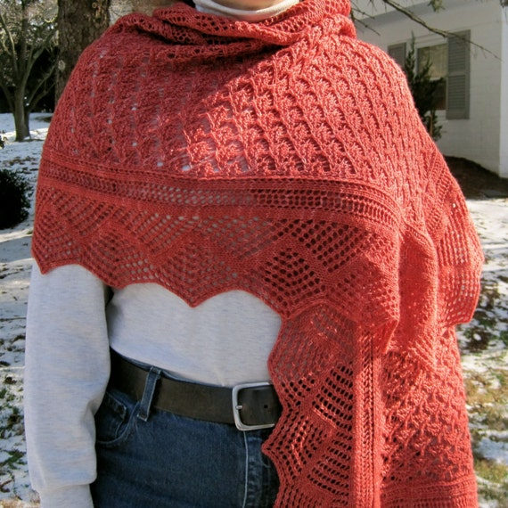 Knitting Patterns Shell Lace : Knit Wrap Pattern: Shell Bordered Antique Diamond Lace ...