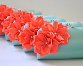 Set of 6 Small Bridesmaids clutches / Wedding clutch - CUSTOM COLOR