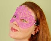 SHEER MASK- Pink Organdy- masquerade mask, Mardi Gras, ballroom, prom, fairy, Venetian, Halloween, tattoo