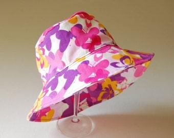 child's cotton hat- EMERSON- Pink Butterflies- size children's L