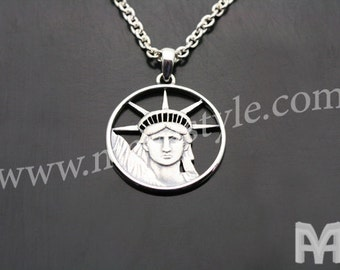 Sterling Silver Statue of Lady Liberty Pendant
