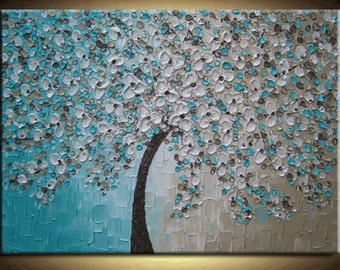 Large Oil Impasto Painting Original Abstract Texture Modern Aqua Blue Beige Brown White Floral Tree Sculpture Knife Painting by Je Hlobik