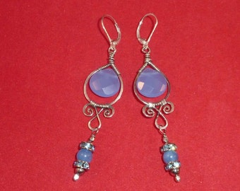 Sterling silver, blue chalcedony wire wrapped earrings