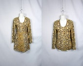 70s Gold Dancer / 2 Pc Faux Snake Skin Leotard and Mini Wrap Skirt // Small Medium