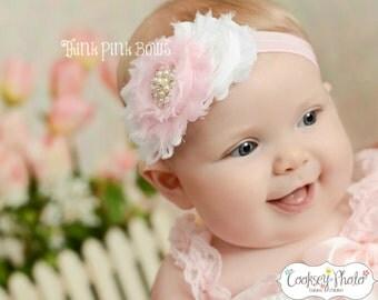 Baby Headbad, Pink and White Shabby Chic Baby Headband, Baby Girl Headband, Newborn Headband, Flower Headband, Baby Bows