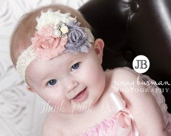 Stuning Baby Headband,Newborn Headband, Baby girl Headband,Shabby chic Headband, Christening Headband,Vintage Inspired Headband,Baby Bows.
