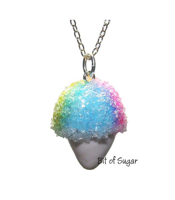 Snow Cone Necklace - Kawaii cute Rainbow flavor snocone, snowcone, Hawaiian shave ice food jewelry