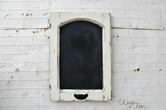 White Wooden Chalkboard - Created from Antique Salvaged Cupboard Door - Antique Cabinet Door Chalkboard - Knick Of Time