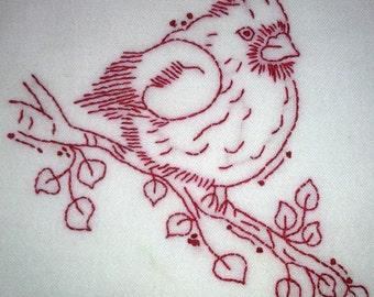 Red Bird Dish Towel