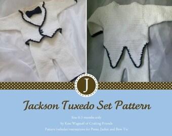Crochet Pattern, Jackson Tuxedo Infant Set with Jacket, Pants and Bow Tie