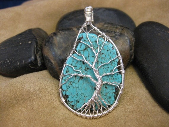 Tree of Life wire wrapped pendant with Turquoise