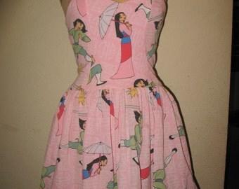 Custom Made to Order Mulan Warrior Princess Geekery Character Movie Pin up SweetHeart Ruffled Halter Mini Dress