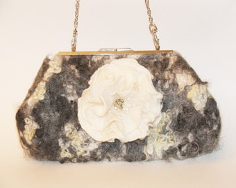 Curly  eavning clutch , Purse bag for special occasion  felted merino wool clutch