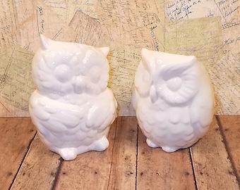 White Ceramic Owl Vases Wedding Cake Topper  -  Large Ceramic Owl Vases  -  Classic White