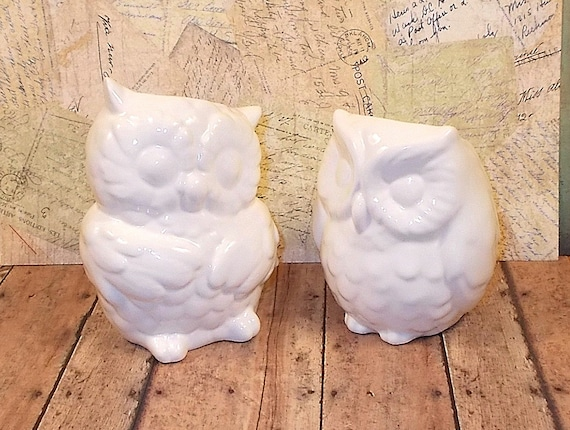Items Similar To White Ceramic Owl Vases Wedding Cake