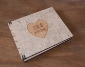engraved wedding guest book - custom personalized rustic wooden guestbook unique wedding anniversary gift woodland natural -made to order
