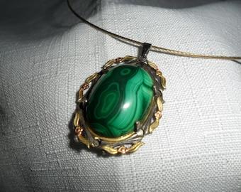 Vintage Genuine Malachite Pendant with Neckwire