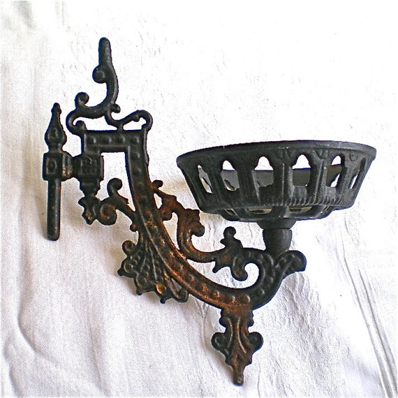 Antique Wall Light Parts : Items similar to Kerosene Lamp, Wall Lamp, Antique, Cast Iron, Replacement Parts, Restoration ...