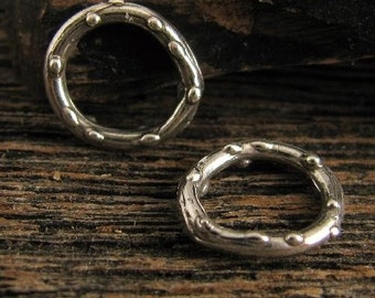 4 Small Sterling Silver Dotted Artisan Circle Links - Bumpy Rustic Charm Holder - Lariat - Bracelet Component 11.25mm AC52
