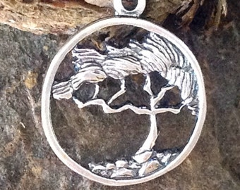 Sterling Silver Tree of Life Charm - Framed Cypress 15.5mm P62