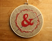 Red Ampersand Embroidery Hoop, &, cute rustic handmade wall art, Valentines Day