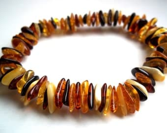 Multicolored BALTIC  AMBER  BRACELET  7.1 inches.