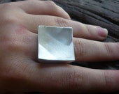 Brushed Sterling Silver Ring, Square Silver Ring, Statement Silver Ring, Cocktail Silver Ring, Big Sterling Silver Ring, Chunky Silver Ring.