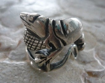 Sterling Silver Animal Ring, Lizard Shape Ring, Oxidized Silver Lizard Ring, Statement Silver Ring, Silver Lizard Ring, Chunky Silver Ring.
