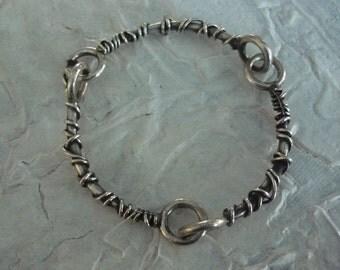 Sterling Silver Bracelet, Silver Wire Wrapped Bracelet, Organic Style Bracelet, Woodland Bracelet, Rustic Bracelet, Oxidized Bracelet K#125