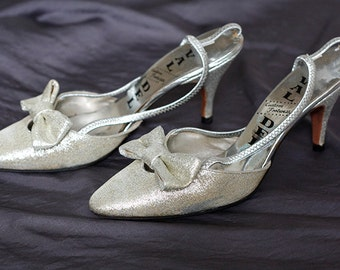 1950's Silver Heels with bow detail